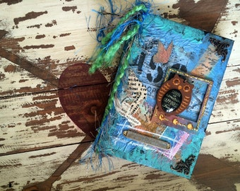 """Original Mixed Media Small Journal """"happiness"""" [80 lined pages]"""