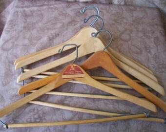 Vintage group of five wood wishbone hangers.  R413-1