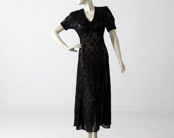 70s lace maxi dress, vintage long black dress