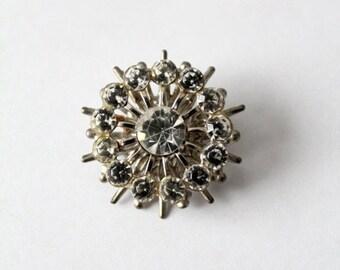 SALE rhinestone brooch, 60s atomic starburst pin, costume jewelry
