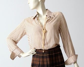 vintage Christian Dior blouse, polka dot striped button down shirt