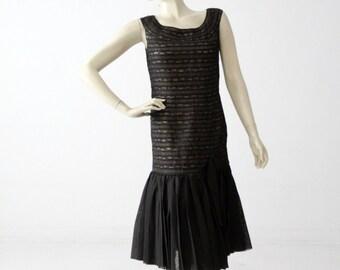 vintage 60s drop waist cocktail dress, flapper style lace dress