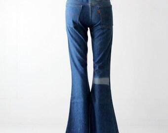 vintage 70s Levi's bell bottoms, flare leg jeans, 30 x 36
