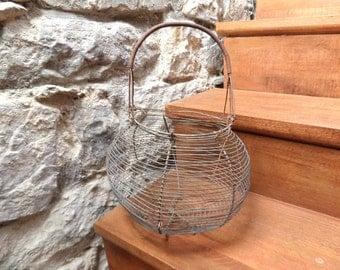 French  Vintage Antique Wire Basket.1930s/ Cottage chic, Garden decor,Garden basket