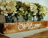 WELCOME Mason jar box , rustic decor, mason jar centerpiece, rustic centerpiece, wooden box, home decor, wedding centerpiece