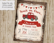 Vintage Truck Birthday Invitation, Rustic Wood birthday, Retro Birthday Invite, Red Truck Birthday, Red Truck, Truck, Boy Custom, Printable