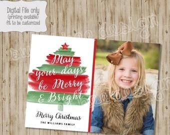 Christmas Card, Photo Christmas Card, Watercolor Christmas Card, Tree, Holiday Card, Photo Card, Holiday Photo Card, Watercolor Card, Photo
