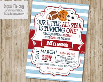 Birthday Invitation , All Star Birthday Invitation, Sports Birthday Invitation, Sports Theme, All Star Birthday
