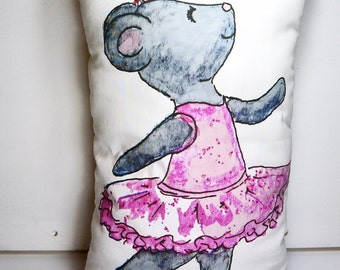 Ballerina Mouse Pillow plush 9 x 15 cotton with crystals and polka dot back - Made To Order