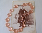 Vintage Pink Necklace Glass Necklace Art Deco Czechoslovakia Translucent Pink Glass Crystal Statement Necklace 1920s
