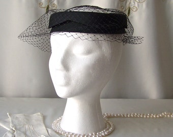 Vintage Black Pill Box Hat Veiled Cocktail Hat Ladies Hat Mid Century 1960s