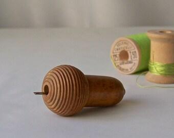 Vintage Etui Needle Case Wood Acorn Shaped Sewing Notions Collectible Edwardian Era Needle Case