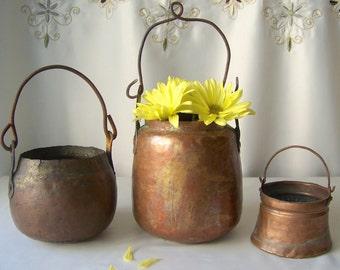 Vintage Copper Decorative Pot Set Primitive Copper Vessels Kitchen Copper Home Decor Rustic Kitchen Brass Iron Handles Vintage 1800s