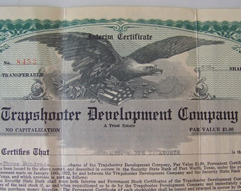 Vintage Stock Certificate 1922 Trapshooter Development Company Shares Of Stock Memorabilia Capital Stock