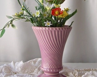 Vintage McCoy Swirl Vase Mauve Lavender Rose Color Swirl Vase Mid Century 1960s
