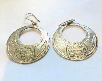 """Large STERLING SILVER 1.5"""" Wide Circle Hoop MODERNIST Earrings 17 Grams"""