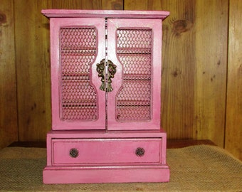Large Jewelry Box Pink Glitter Large Jewlery Box Shabby Chic Distressed Vintage Jewerly Box Large Jewelry Box Pink Girls Jewlery Box