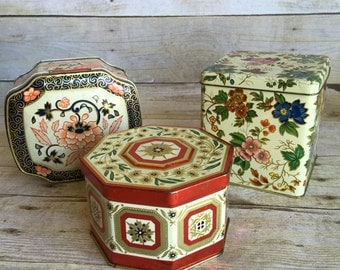 Vintage Set of Three floral Tins Instant Collection
