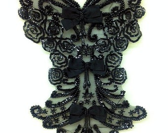 Stunning, large black sequin bodice applique with bows