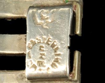 "Vintage Sterling & Abalone Mod Links Mid Century Bracelet Mexico 7"""