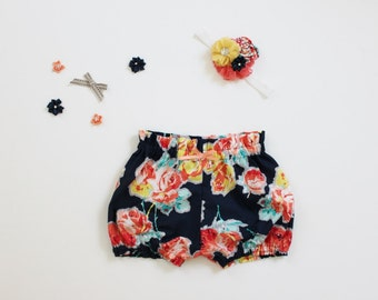 Maddie's High Waist Blue Floral Bloomers  - Ready to Ship