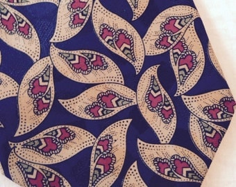 Stafford Tie Made in Italy 100 Percent Silk Leaves Paisley 2 Tone Beige Navy Background Sage Green Wine Red A Square Overlay Sheen Pattern