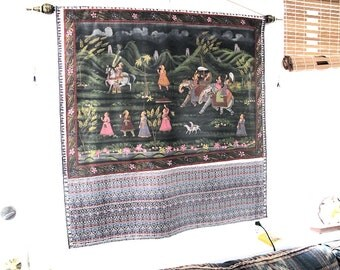 Wall Tapestry-Silk Painting of Mughal Elephant Procession Scene Wall Tapestry, Wall Hanging by the Old Silk Route