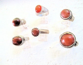 Carnelian Agate Rings from Size 9 to 12, Unisex, Wholesale Lot of 6