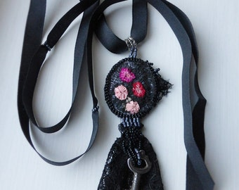 Victoriana Antique Key and Lace Pendant