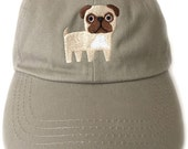 Pug embroidered baseball cap.