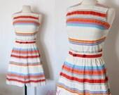 Vintage 60s Dress Multicolor Stripe Sporty Summer Sundress Pat Premo California Pockets S