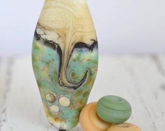green aqua, ivory and black glass 45x20x9mm hand-shaped flat marquise lampwork focal bead SRA handmade bead for making jewelry 20416-2