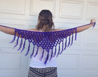 INDIGO PURPLE Black and Gold Lace SHAWL/ Swim Suit Wrap / Hip Scarf