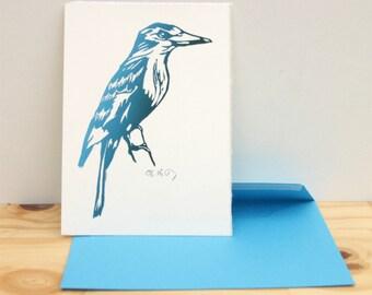 Halcyon bird postcard with blue envelope , original linocut print, hand printed, turquoise blue green kookaburras