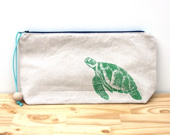 Green loggerhead sea turtle clutch bag, large pencil case, boho clutch, block printing, handmade