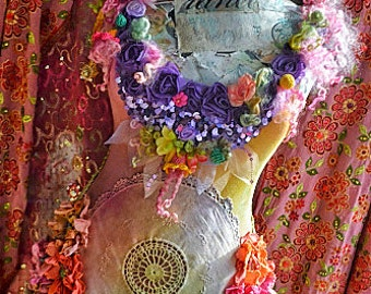 Dress size S/M Art To Wear Bohemian Romantic Upcycled dress mori girl fairy  Pretty boho style gypsy dress altered couture