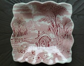 Red Transferware Dish Bowl, Square. Rural England. W.R. Midwinter. Water Mill, Church, Trees. Cottage, Farmhouse Decor.