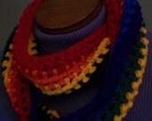 Rainbow Scarf Infinity Crocheted Cozy Handmade