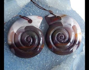 Carved Mookite Jasper Shell Earring Bead,42x35x6mm,26.01g