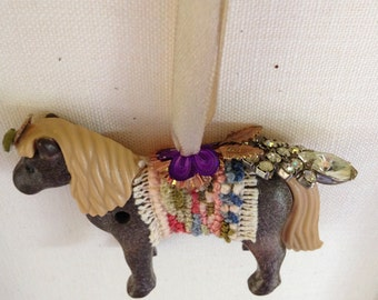 shetland pony ornament. merry menagerie: Mareoun.  one of kind original art.  boho chic shetland pony ornament.