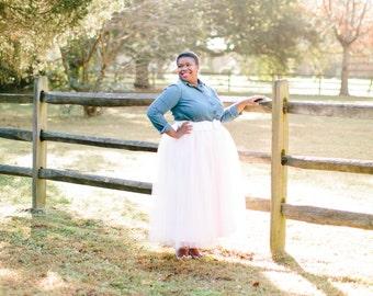 Blush Pink Bridal Tulle Skirt // Full Length Tulle Skirt //  Elastic Waistband // Custom Maxi Hem