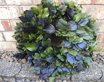 Preserved Salal Wreath  Seattle Seahawks Decor  Lemon Leaf Wreath   Front Door Wreath  Natural Wreath  Door Wreath  Elegant Wreath