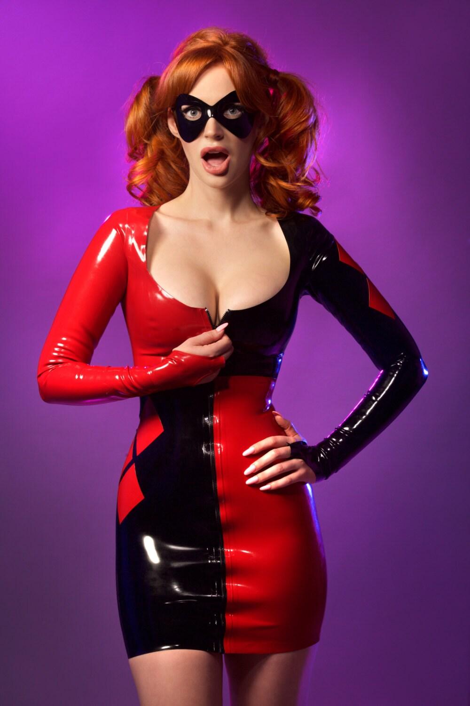 Zip Tie Gun >> Latex Harley Quinn inspired cosplay dress and mask