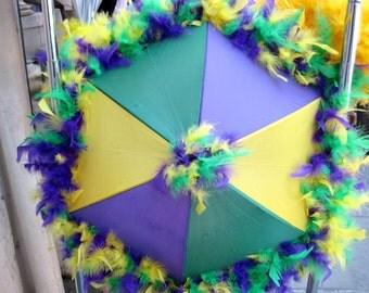 Second Line Mardi Gras Feather Umbrella- Parade- Festival Parasol- Jazz Fest French Quarter Fest- New Orleans shade bridesmaids bachelorette