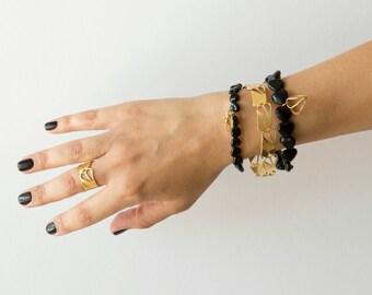 Onyx Gemstone Bracelet, Onyx Bracelet, Gemstone Bracelet, Beaded Bracelet, Charm Bracelet, Black Bracelet, Beaded Elastic Bracelet