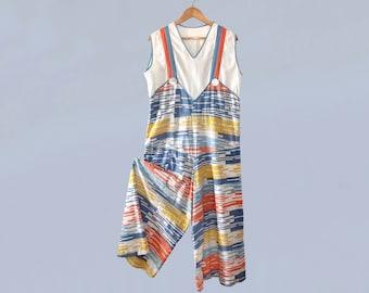 RARE!! 1930s Beach Pajamas / 30s Cotton Jumpsuit / Crazy Trippy Tetris Stripes / Wide Leg / Trompe L'Oeil M L