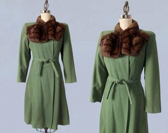 1940s Coat / 40s Fern Green Wool Princess Coat / Fur Collar / Wrap Style Tie Waist