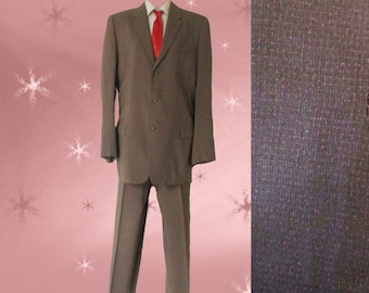 Men's 1950S Suit - Late 50s Spring Summer Vintage Dress Suit - Taupe Windowpane - 40 Long