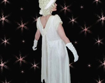 Plus Size Vintage White Evening Gown - AS IS Halloween Costume - 1950s - Study - Cosplay