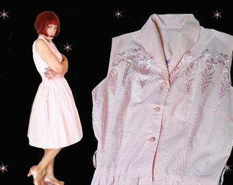 Blush Pink Dress is a 50s Summer Day Dress with Mid Length Puffy Skirt, Sleeveless Cotton Shirtwaist Lolita Dress, Fit and Full Flare Skirt
